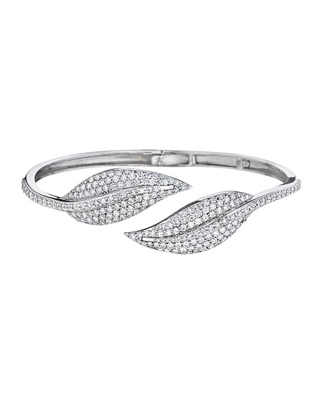 Pavé Diamond Double-Leaf Bangle