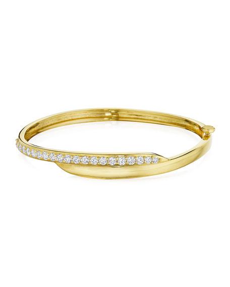 18k Green Gold Diamond-Trimmed Crescent Bangle