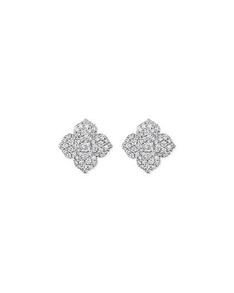 Large Pavé Diamond Flower Earrings
