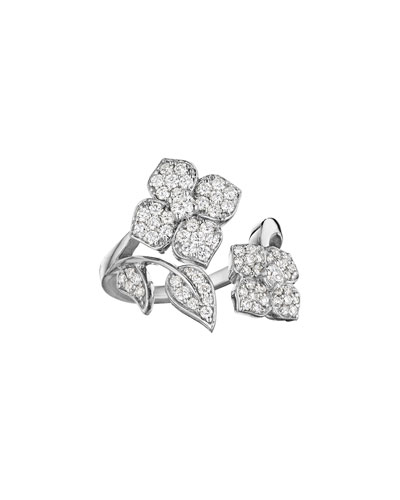 18k White Gold Pavé Diamond Flower-Wrap Ring, Size 6