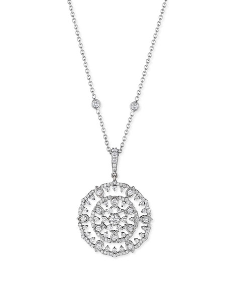 18k White Gold Round Diamond Garland Pendant Necklace