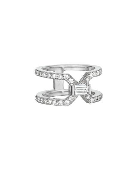 18k White Gold Emerald-Cut Diamond Split Band Ring, Size 6