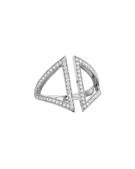 18k White Gold Pavé Diamond Open Triangle Ring, Size 6