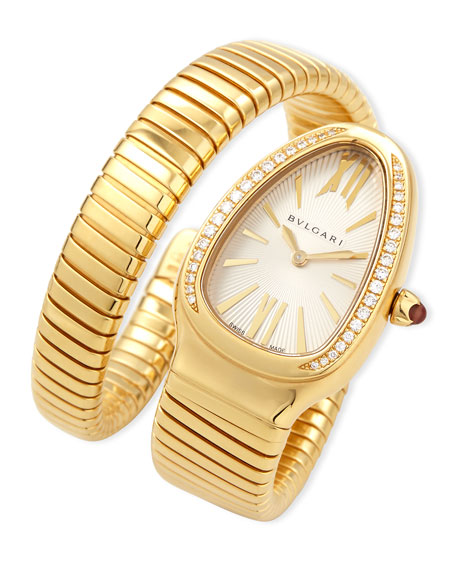 BVLGARI 35mm Serpenti Tubogas Yellow Gold Diamond Watch