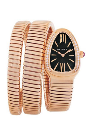 BVLGARI 35mm 18K Pink Gold Serpenti Tubogas Diamond Watch