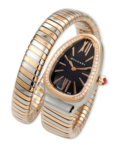 35mm Serpenti Tubogas Diamond Watch, Two-Tone/Black