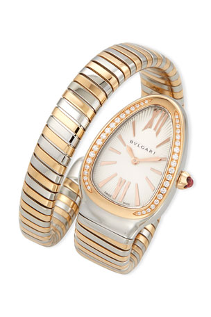 BVLGARI 35mm Serpenti Tubogas Diamond Watch, Two-Tone/Cream