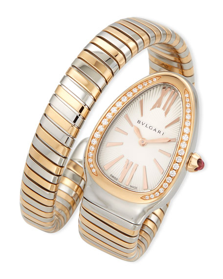 35mm Serpenti Tubogas Diamond Watch, Two-Tone/Cream