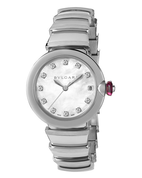 33mm LVCEA Watch with Diamonds, Steel