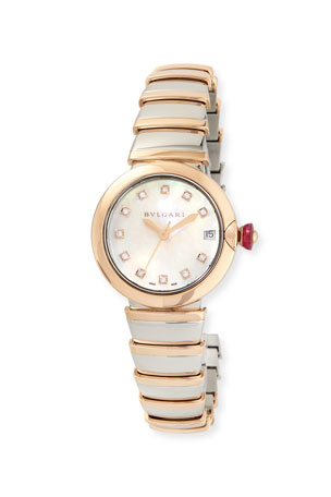 BVLGARI 33mm LVCEA Watch with Diamonds, Two-Tone