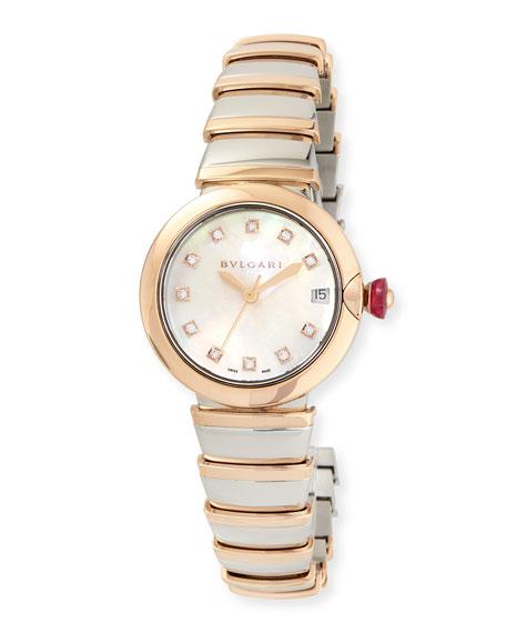 BVLGARI 33mm LVCEA Watch with Diamonds, Two-Tone