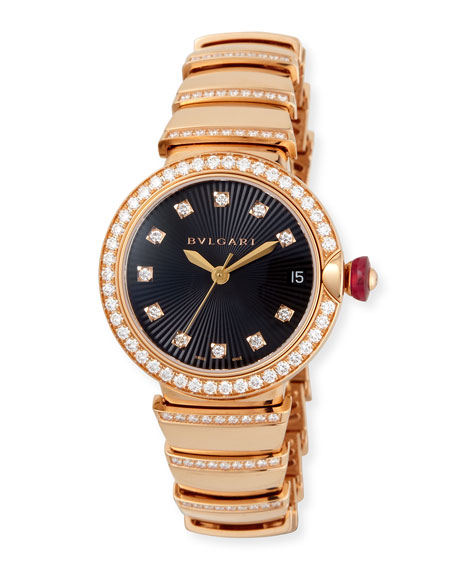 BVLGARI 33mm LVCEA Pink Gold and Diamond Watch
