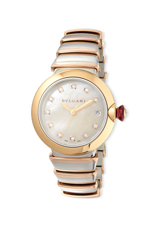 BVLGARI 36mm LVCEA Watch with Diamonds, Two-Tone