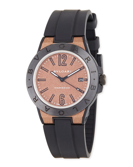 41mm Diagono Magnesium Watch, Coral/Black
