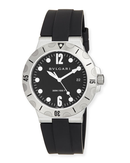 41mm Stainless Steel Diagono SCUBA Watch, Black
