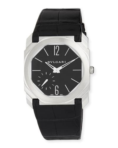 40mm BVLGARI Octo Platinum Alligator Strap Watch, Black