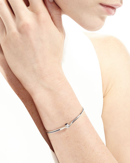 18K White Gold Pavé Blue Sapphire Handcuff Bracelet