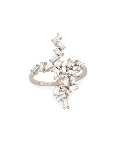 18K White Gold Baguette Diamond Cluster Ring, 1.02tcw