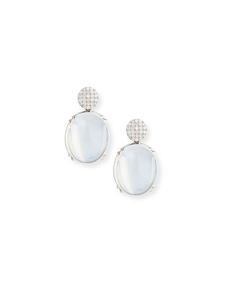 Goshwara Rock-N-Roll Pavé Diamond & Moon Quartz Earrings
