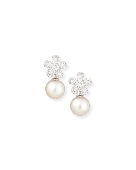 Belpearl 18K White Gold Diamond & South Sea Pearl Earrings