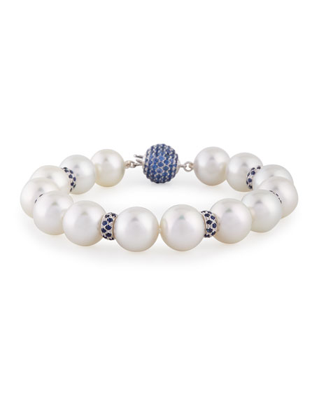 South Sea Pearl & Blue Sapphire Bracelet