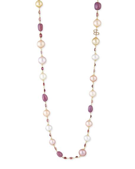 Belpearl Kasumiga Pearl & Multi-Stone Station Necklace