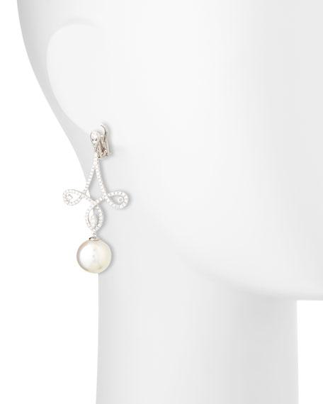 18K Pavé Diamond & Pearl Scroll Earrings
