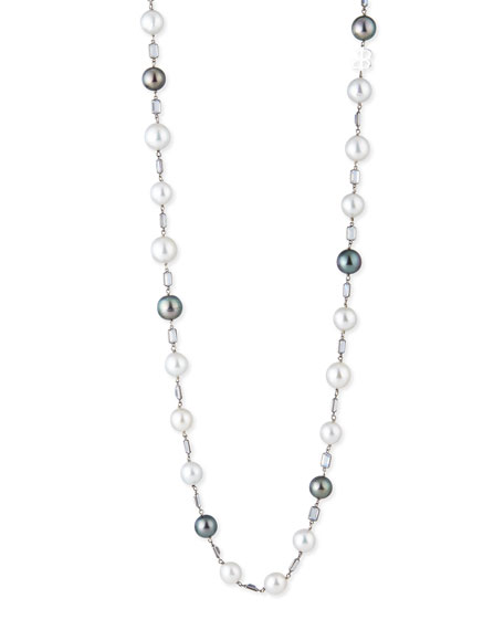 Belpearl 18K White Gold South Sea & Tahitian Pearl Necklace