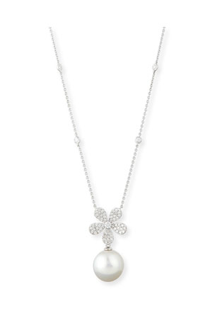 Belpearl Diamond & Pearl Pendant Necklace