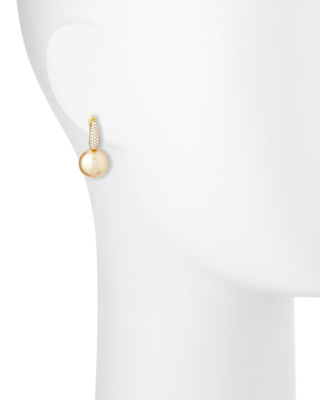 Diamond & Golden Pearl Drop Earrings