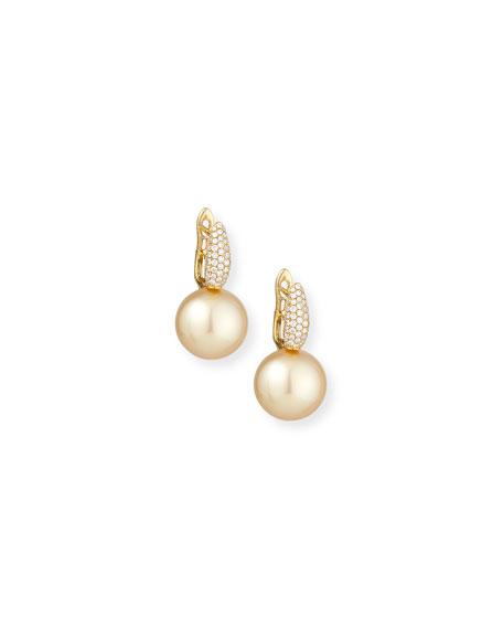 Diamond & Golden Pearl Drop Earrings