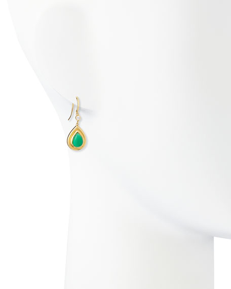 Green Chalcedony & Diamond Drop Earrings