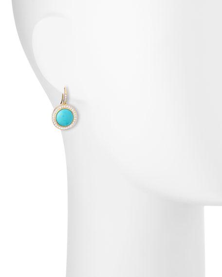 Diamond & Turquoise Drop Earrings