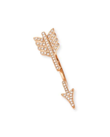 18K Rose Gold Diamond Arrow Earring