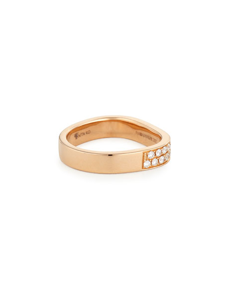 18K Rose Gold Pave Diamond Band Ring, Size 6