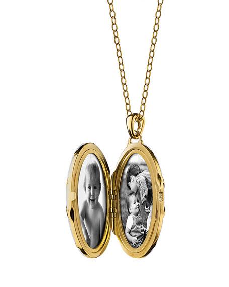 18K Gold Diamond-Striped Ceramic Locket Necklace