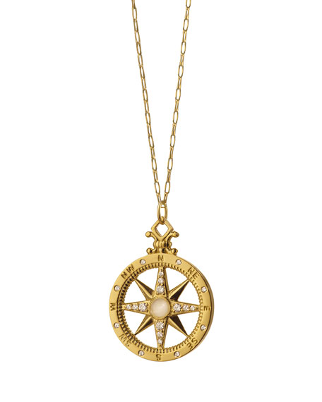 18K Gold Diamond Compass Charm Necklace