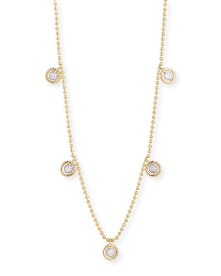 Dangling Five-Diamond Bezel Necklace