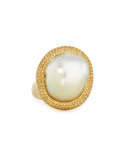 18K Gold South Sea Pearl Ring w/Yellow Diamonds, Size 6.5