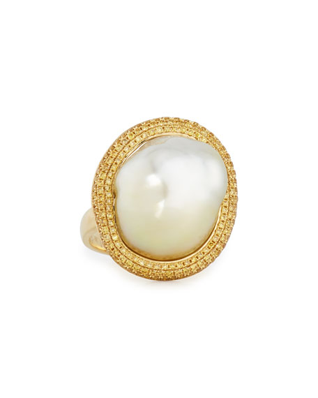 18K Gold South Sea Pearl Ring w/Yellow Diamonds, Size 6.5
