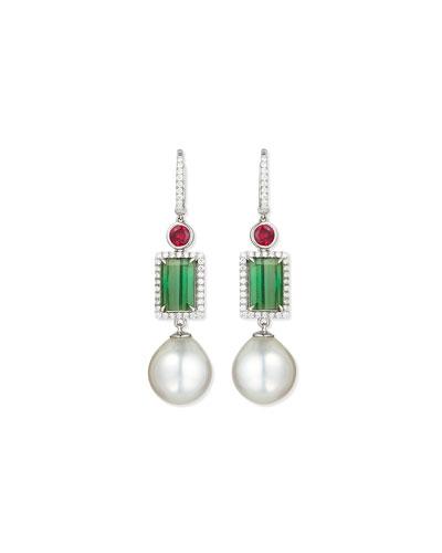18K White Gold Ruby, Green Tourmaline & Pearl Earrings