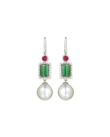 Eli Jewels 18K White Gold Ruby, Green Tourmaline