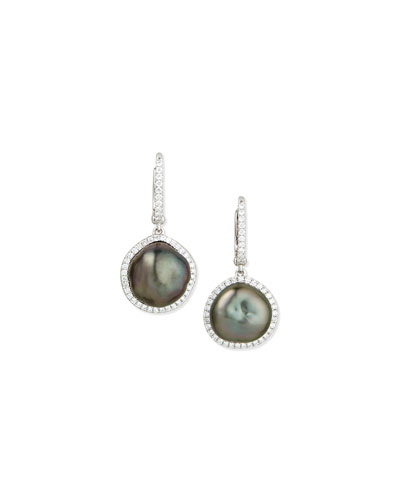 Tahitian Pearl & Diamond Drop Earrings