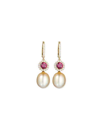 Dangling South Sea Pearl & Rubellite Earrings