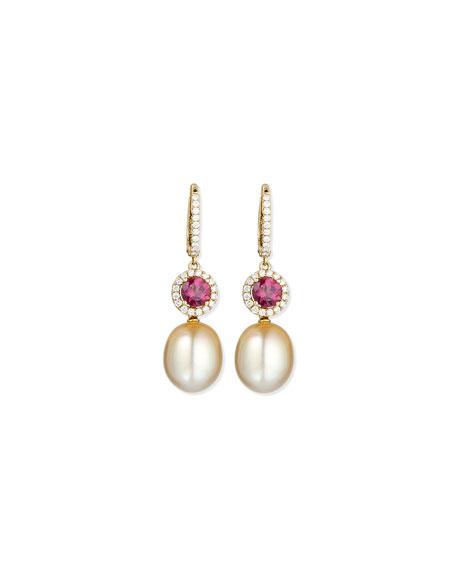 Dangling South Sea Pearl & Rubellite Earrings