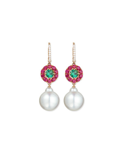 Pink Sapphire, Green Tourmaline & Pearl Drop Earrings