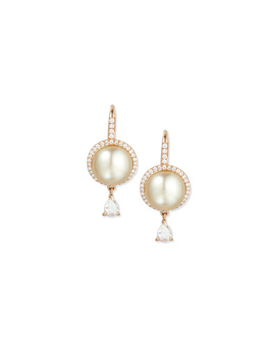 18K Rose Gold Tahitian Pearl & Diamond Earrings
