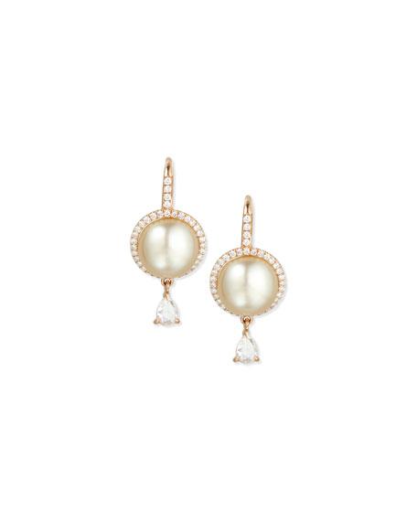 18K Rose Gold Tahitian Pearl & Diamond Earrings