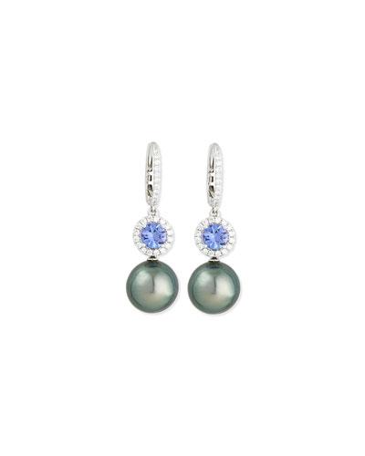 Dangling South Sea Pearl & Blue Tanzanite Earrings