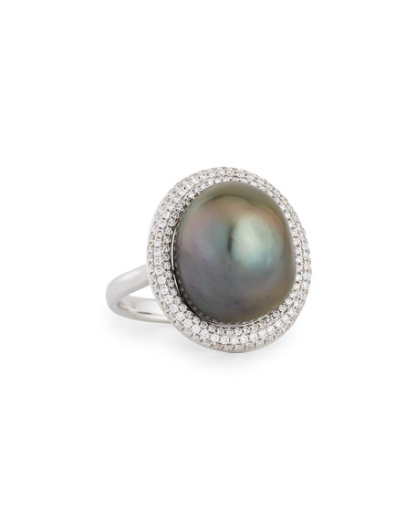 Eli Jewels 18K White Gold Tahitian Pearl Ring